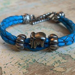 Genuine leather elephant bracelet